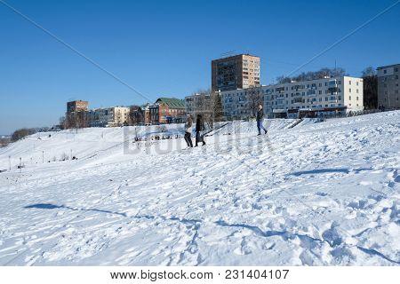 Nizhny Novgorod, Russia - March, 10, 2018: dwelling houses on high Volga bank in Nizhny Novgorod in winter