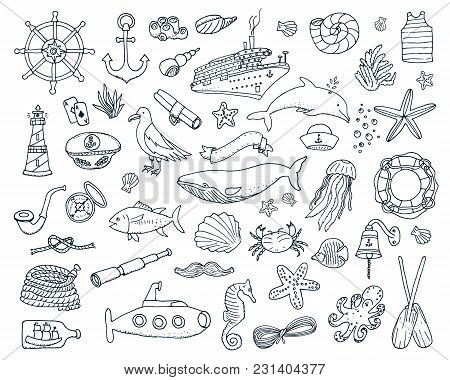 Sea Or Marine And Nautical Life. Outline Summer Time Web Icons Set. Engraved Hand Drawn In Old Sketc