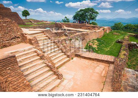 Pool in the royal garden palace complex on the top of Sigiriya Rock or Lion Rock near Dambulla, Sri Lanka. Sigiriya is a UNESCO World Heritage site.