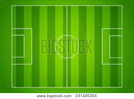 Vector Illustration Football Field Or Soccer Field With Green Pattern For Background