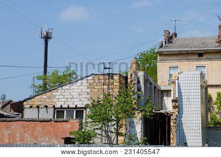 Ruined House Building After Disaster, War. Ukraine War. Donbass Destruction