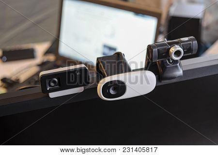 Web Camera, Attached To The Monitor. Equipment For Video.