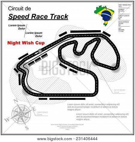 Sample Speed Race Track Circuit For Car Competition Isolated On White Background