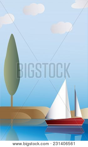 The Sailboat Against The Background Of The Sandy Island With A Tree. Vector Illustration.