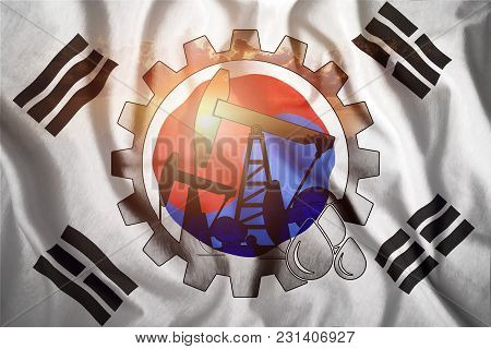 Oil Rig On The Background Of The Flag Of South Korea. Mixed Environment. The Concept Of Oil Producti