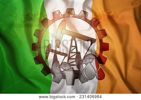 Oil Rig On The Background Of The Flag Of Ireland. Mixed Environment. The Concept Of Oil Production,