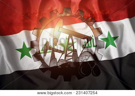 Oil Rig On The Background Of The Flag Of Iraq. Mixed Environment. The Concept Of Oil Production, Min