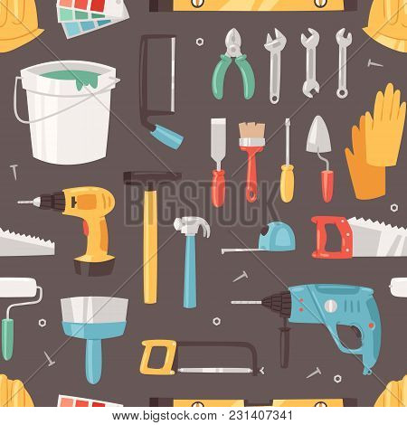 Construction Equipment Vector Constructive Tools Of Builder Or Constructor With Hammer And Screwdriv