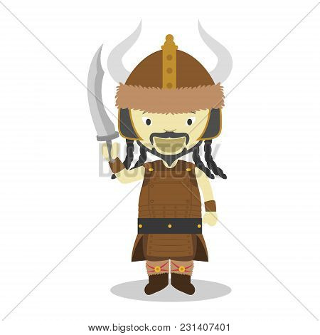 Attila Cartoon Character. Vector Illustration. Kids History Collection.