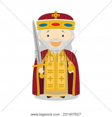 Charles I The Great (charlemagne) Cartoon Character. Vector Illustration. Kids History Collection.