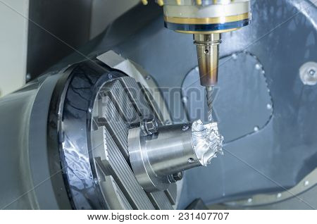The Table Tilt Type 5 Axis Cnc Milling Machine Cutting The Turbine Part With Solid End Mill Tool.