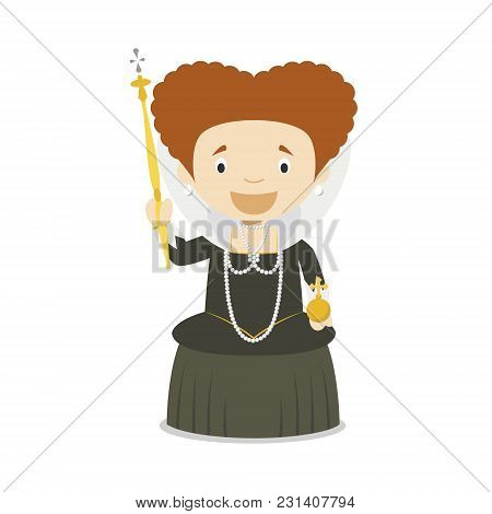 Elizabeth I Of England Cartoon Character. Vector Illustration. Kids History Collection.