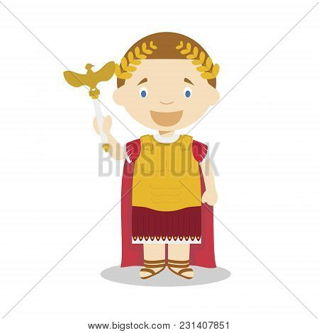 Emperor Augustus Cartoon Character. Vector Illustration. Kids History Collection.