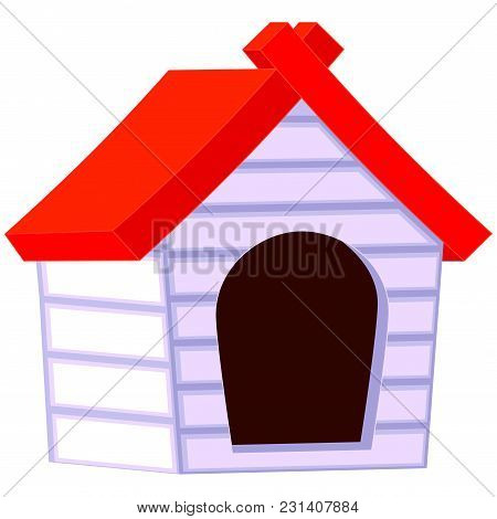 Colorful Cartoon Pet House Icon Poster. Pet Care Themed Vector Illustration For Gift Card, Flyer, Ce