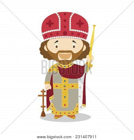 Emperor Constantine I Cartoon Character. Vector Illustration. Kids History Collection.