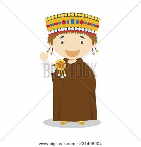 Emperor Justinian I Cartoon Character. Vector Illustration. Kids History Collection.