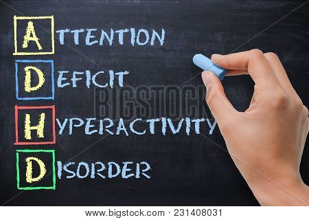 Adhd - Attention Deficit Hyperactivity Disorder Handwritten By Woman On Blackboard