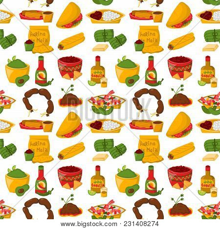Mexican Traditional Food With Meat Avocado Seamless Pattern Background Spicy Pepper Salsa Lunch Vege