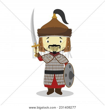 Genghis Khan Cartoon Character. Vector Illustration. Kids History Collection.