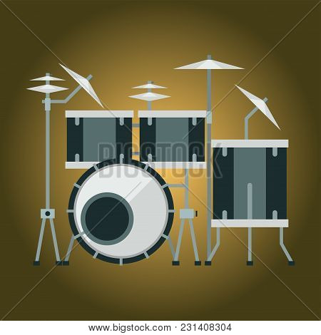 Musical Drum Kit Wood Rhythm Music Instrument Series Set Of Percussion Vector Illustration. Drummer