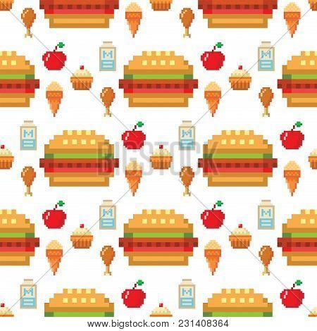 Pixel Food Icons Fruit Sweet Seamless Pattern Background Vector Illustration Restaurant Pixelated El