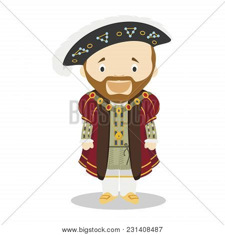 Henry Viii Of England Cartoon Character. Vector Illustration. Kids History Collection.