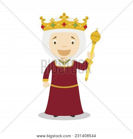 Isabella I Of Castile (the Catholic) Cartoon Character. Vector Illustration. Kids History Collection