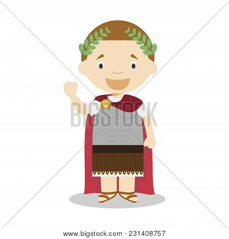 Julius Caesar Cartoon Character. Vector Illustration. Kids History Collection.