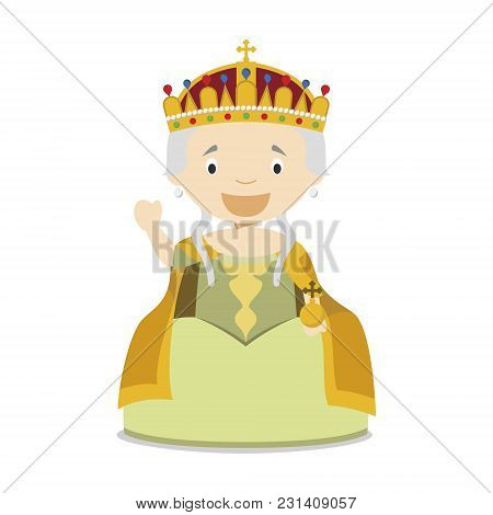Maria Theresa I Of Austria Cartoon Character. Vector Illustration. Kids History Collection.