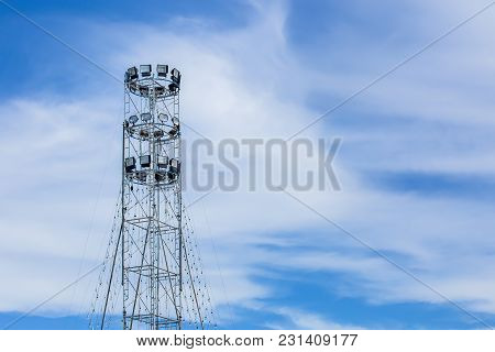 Spotlights And Filters In On A Pole At An Outdoor