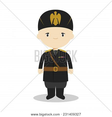 Benito Mussolini Cartoon Character. Vector Illustration. Kids History Collection.