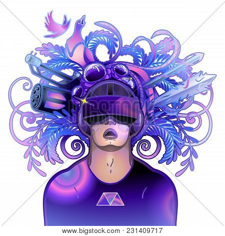 Graphic Man With Open Mouth Wearing Virtual Reality Headset With Fantastic Cyber World On The Backgr