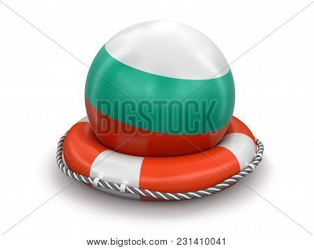3d Illustration. Ball With Bulgarian Flag On Lifebuoy. Image With Clipping Path