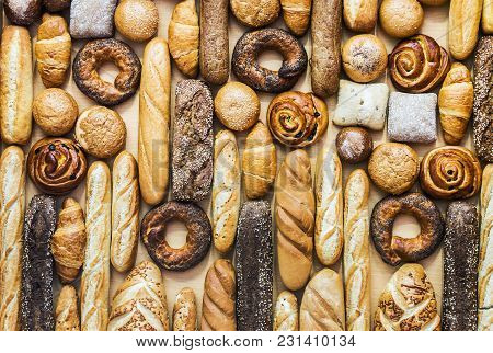 Freshly Baked Bread And Bakery Products. Background