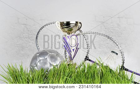 Sports Equipment On Green Grass, Badminton, Ball, Cup