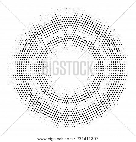 Halftone Double Circle Frame. Vector Background Template