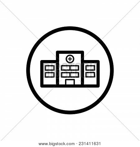 Hospital Line Icon On A White Background. Vector Illustration