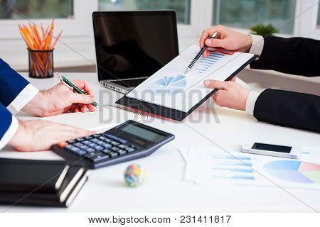Team Work Process. Marketing Strategy Brainstorming. Paperwork And Digital In Office.
