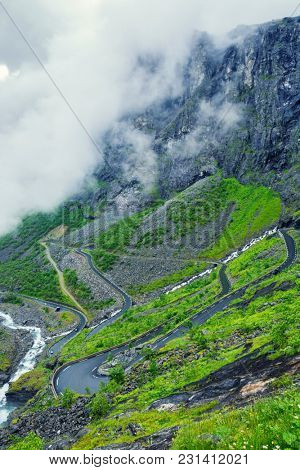 View On Troll Road And Cloud Over Mountain, Norway, Mountain Landscape