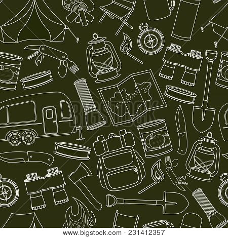 Seamless Pattern Of Travel Equipment. Accessories For Camping And Camps. Line Icons Of Camping And T