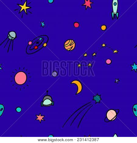 Cosmos Space Astronomy Simple Seamless Pattern. Endless Galaxy Inspiration Graphic Design Typography