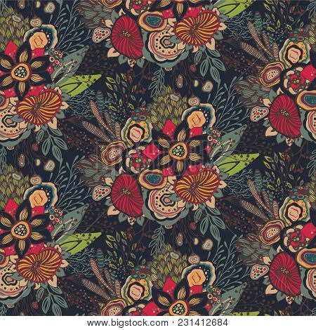 Beautiful Seamless Pattern With Hand Drawn Floral Fantasy Nature Motif, Flowers, Plants, Branches. C