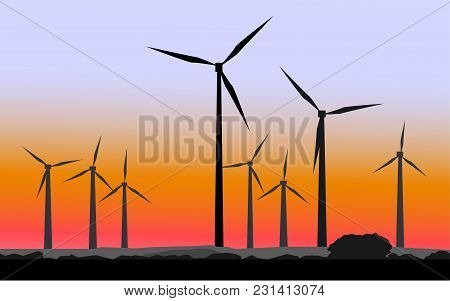 Wind Mills Against The Background Of A Sunset. Vector Illustration.