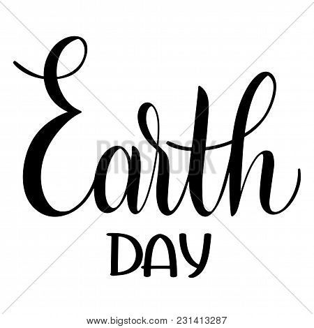 Happy Earth Day Lettering. Hand Drawn Text. Papercut