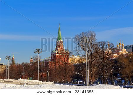 View Of The Moscow Kremlin From Manege Square. Winter In Moscow