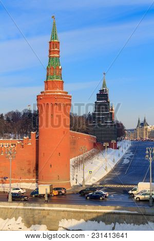 Moskvoretskaya Tower Of The Moscow Kremlin And Red Square In Sunny Winer Day
