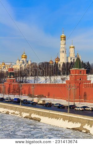 Golden Domes Of Churches In The Moscow Kremlin On A Sunny Winter Morning