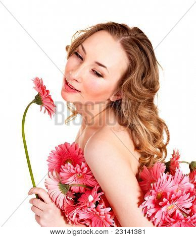 Beautiful  young woman holding  flower.