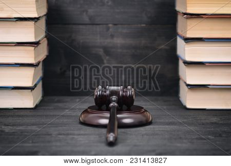 Law And Justice , Legality Concept, Judge Gavel And Law Books On A Black Wooden Background, Law Libr