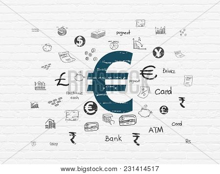Money Concept: Painted Blue Euro Icon On White Brick Wall Background With  Hand Drawn Finance Icons